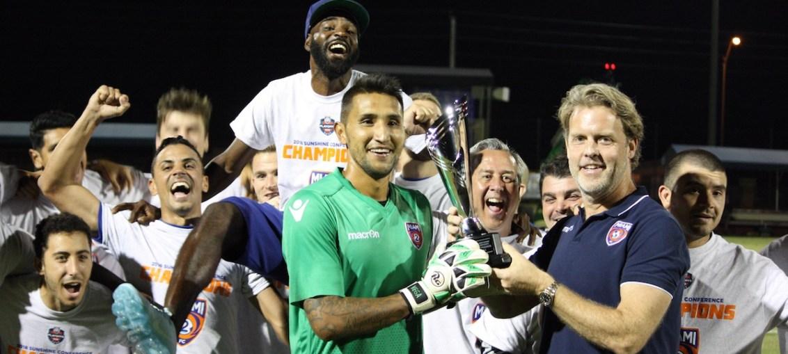 The Miami FC win the 2018 NPSL Sunshine Conference title.