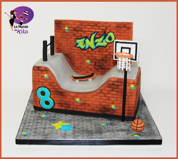 Gâteau d'anniversaire Skate Park Basket