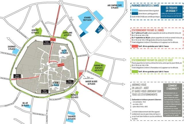Plan des parkings de la ville de Guérande