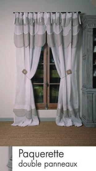 rideau lin blanc et beige modele paquerette