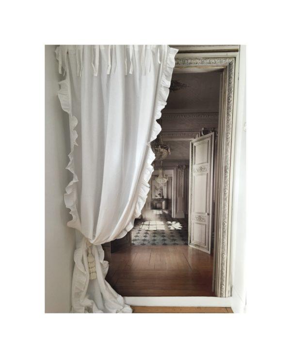 rideau shabby romantique a volants blanc