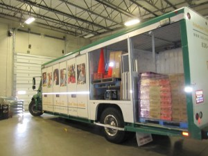 This truck is part of the Mobile Pantry Program and brings the food pantry to hungry neighbors.