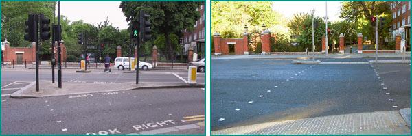 Kensington High Street (Londres), avant et après le passage en route nue. Source : Wikipedia