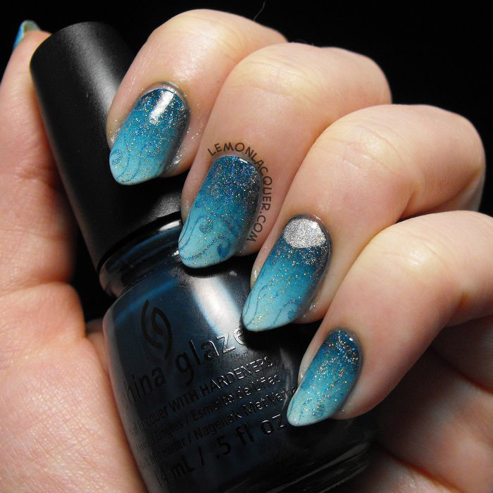 Perigean Tide Gradient & Stamped Nail Art