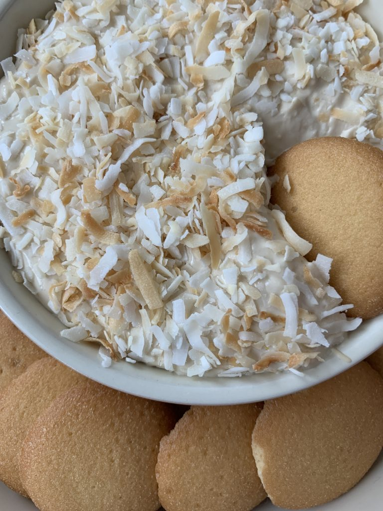 toasted coconut cheesecake dip with sweet chip