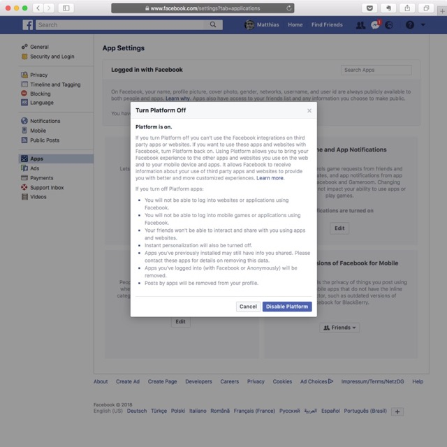 Disable Platform on Facebook to limit API