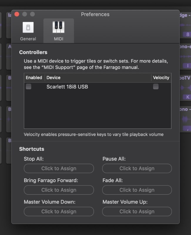 Farrago supports MIDI devices