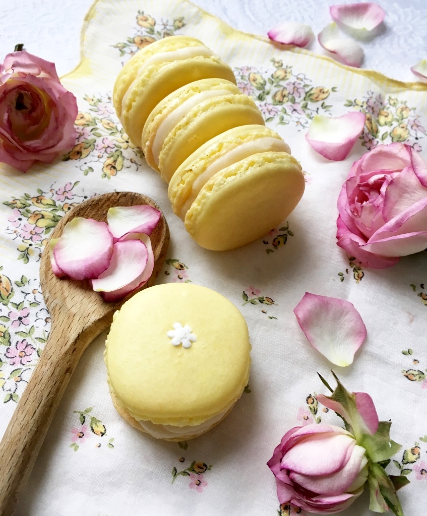 Yellow Macarons with Roses