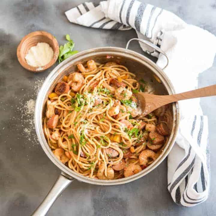 Jambalaya pasta in pan top down view