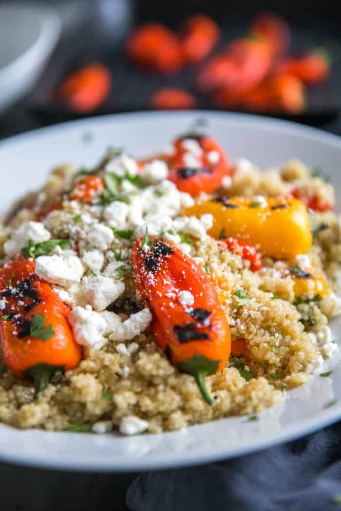 quinoa and roasted red peppers with mini peppers