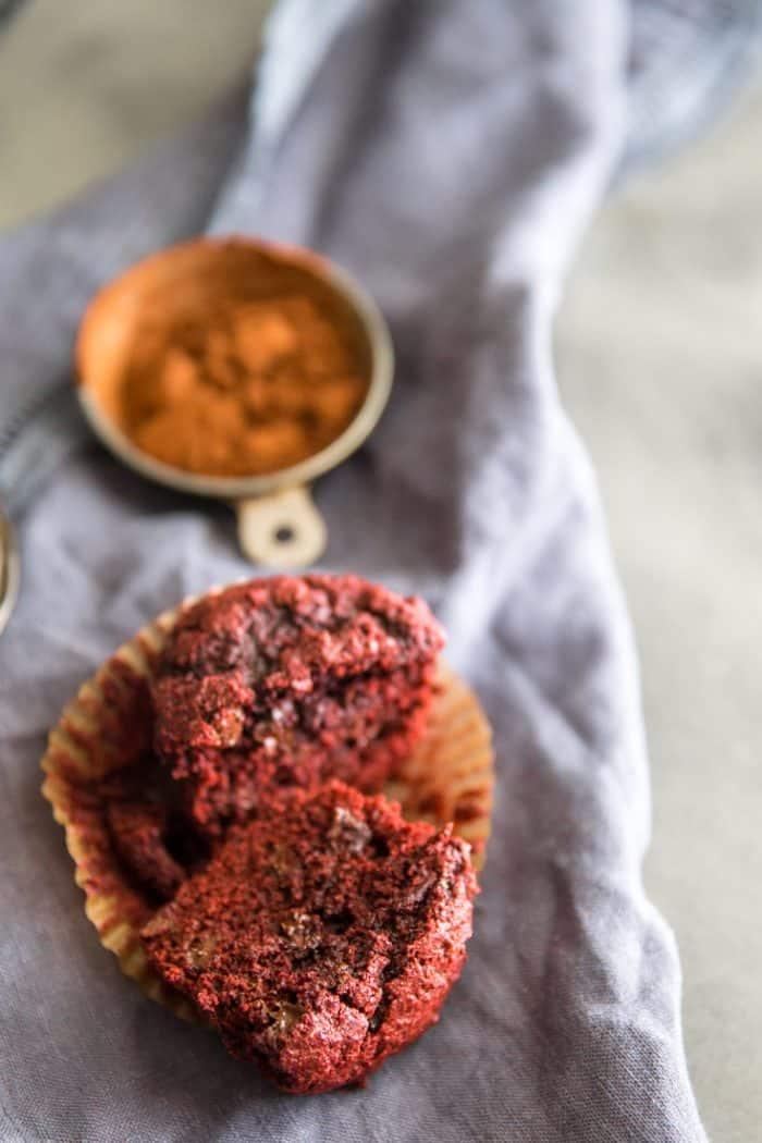 halved red velvet chocolate chip muffin