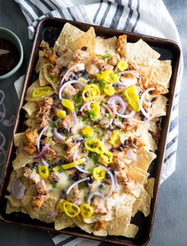 BBQ Chicken Nachos whole pan