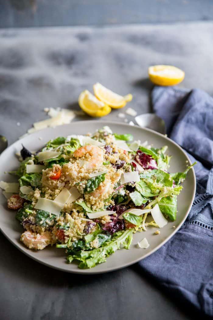 ]Shrimp Caesar salad made with quinoa