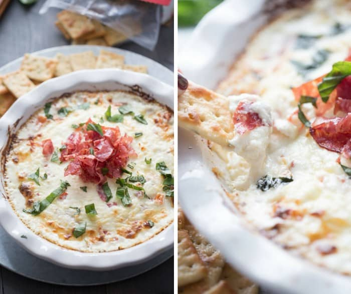 Creamy, gooey cheese will temp you in this easy recipe for bruschetta dip! Fresh tomatoes and crisp soppresatta slices add so much flavor, you won't be able to keep away from this appetizer! lemonsforlulu.com