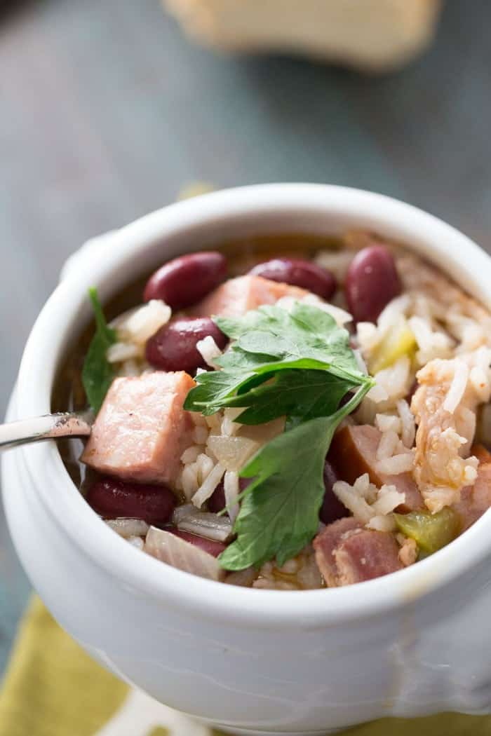 This hearty and satisfying soup has lots of rice, red beans, bacon and andouille sausage! How delicious does that sound? lemonsforlulu.com