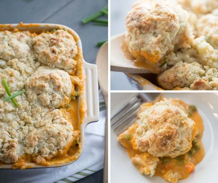 Chicken is cooked with vegetables in a creamy Buffalo sauce then topped with very simple dop biscuits made with blue cheese and chives. This Buffalo chicken cobble is hearty and satisfying!