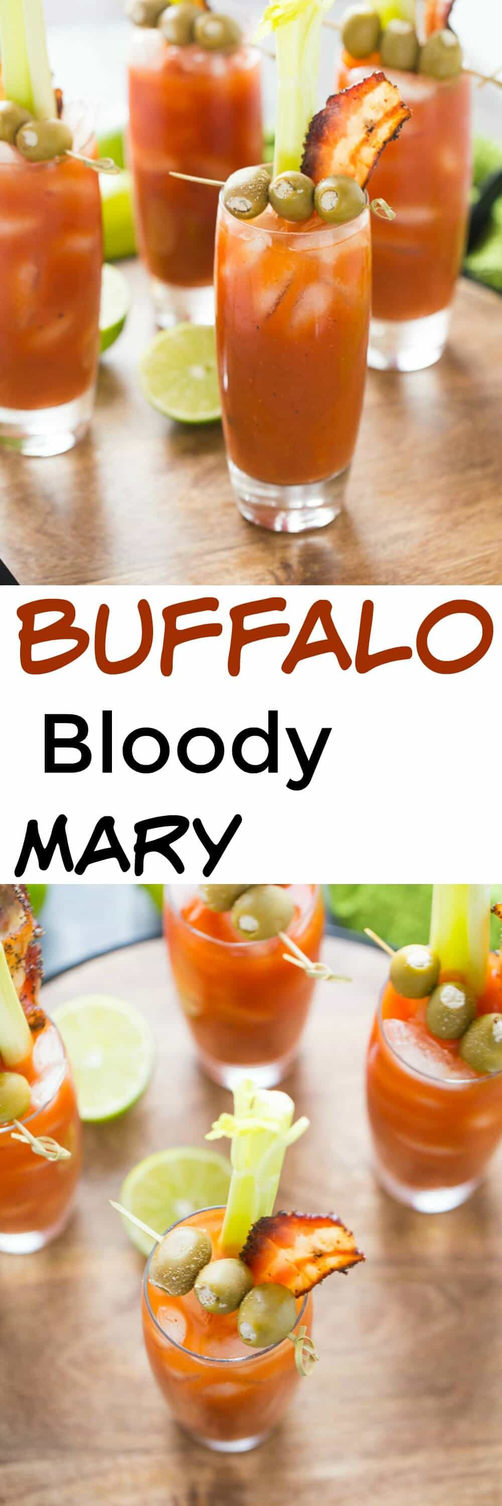 This bloody Mary is one of a kind! Spicy Buffalo sauce is mixed into each cocktail. Finish these drinks off with blue cheese stuffed olives and peppery bacon! lemonsforlulu.com