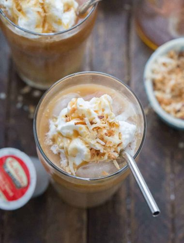 Iced macchiatos are perfect for all year round! This coconut caramel version is nutty and sweet!