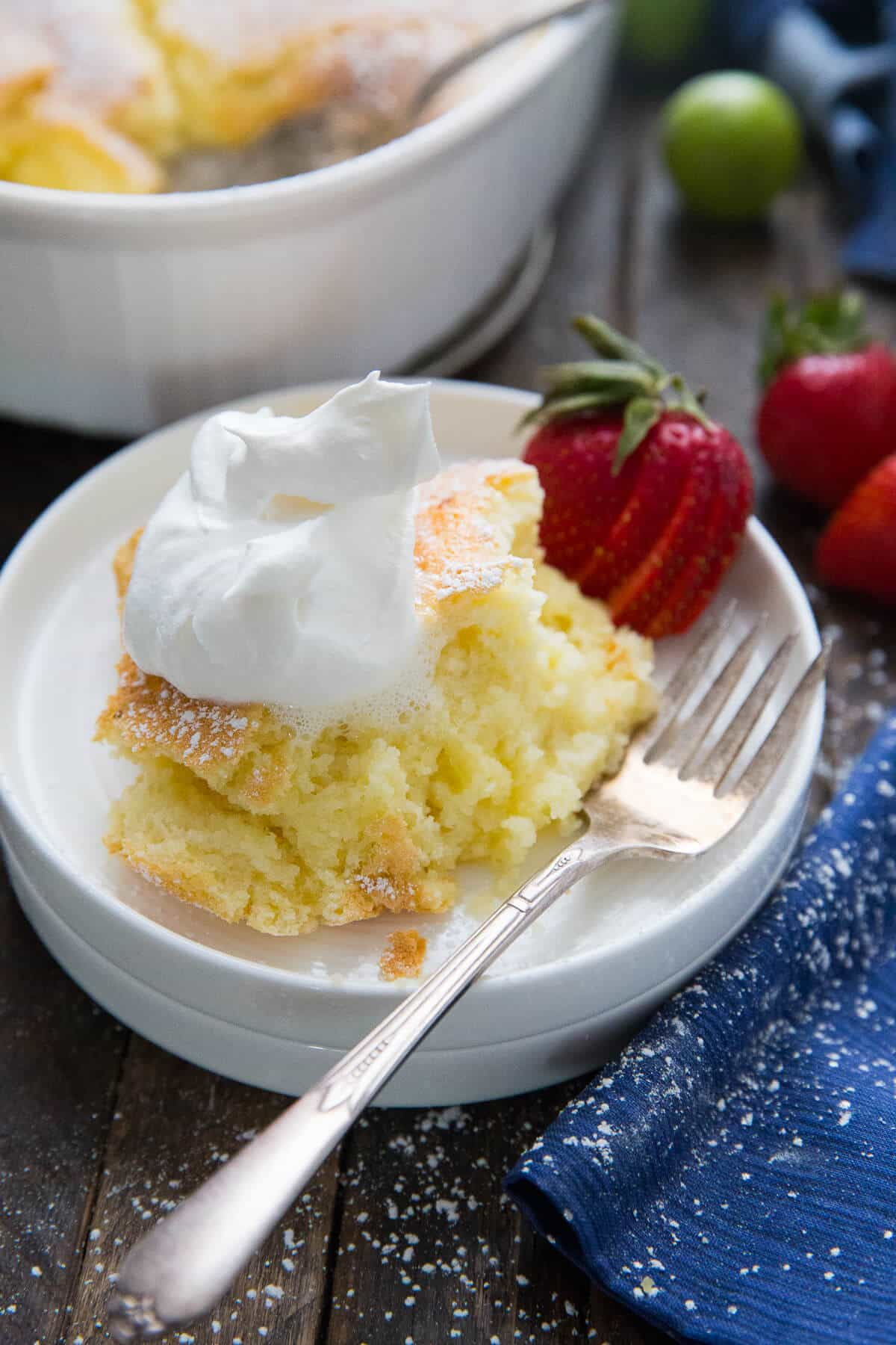 This pudding cake has a light fluffy cake layer that bakes up over a silky pudding layer. It is magical!