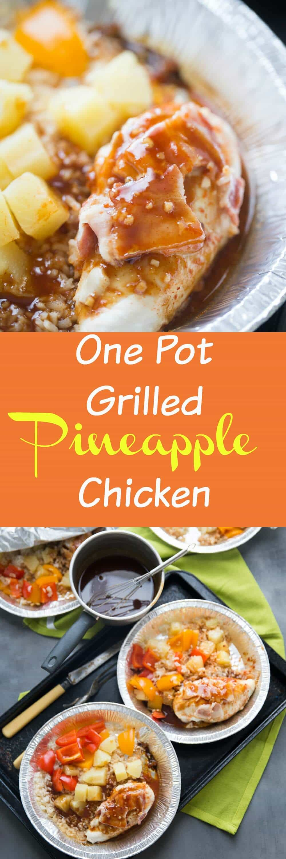 This pineapple chicken is tossed with rice, peppers and bacon and cooked right on the grill. Dinner can really be this easy and this GOOD!
