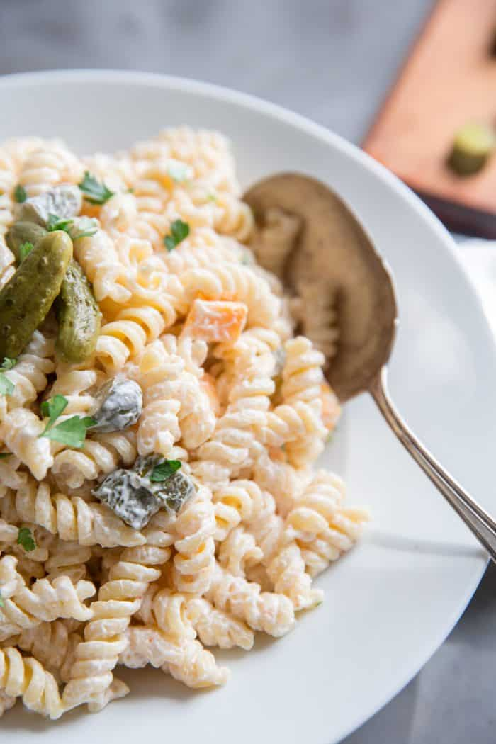 dill pickle pasta salad side with spoon