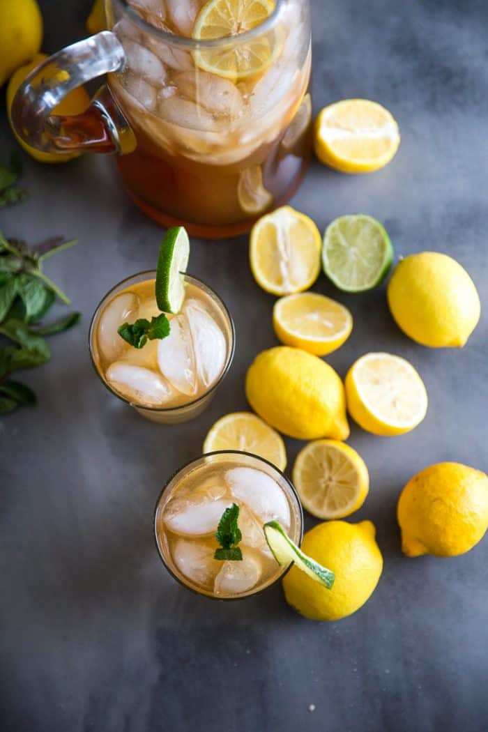 Iced tea recipe two glasses and a pitcher
