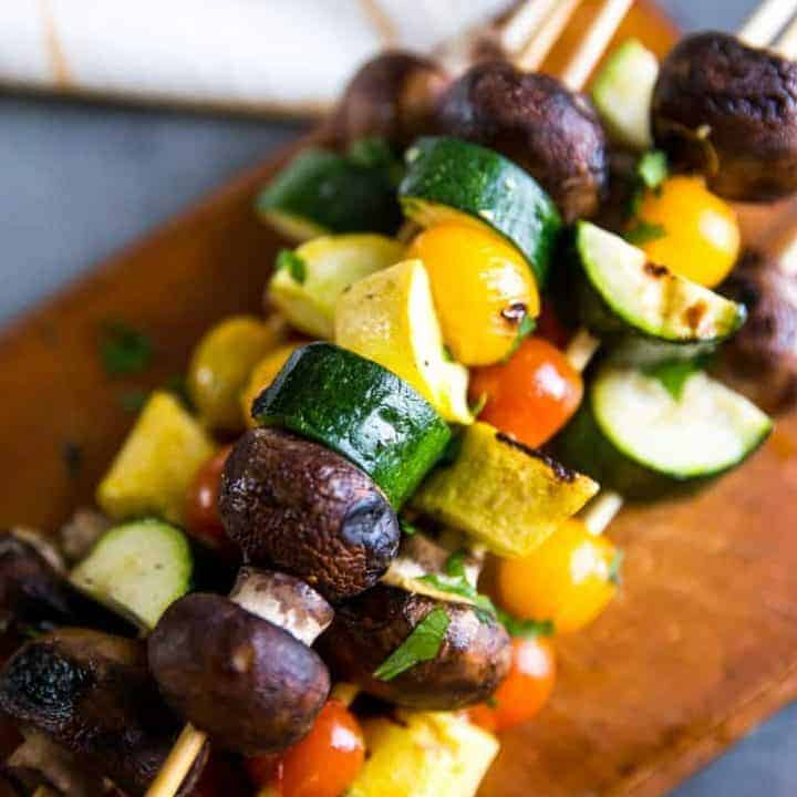vegetable kabobs close up