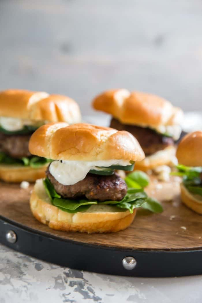 Lamb Burgers on brown tray