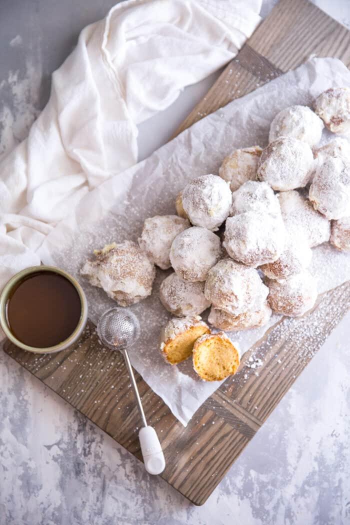pumpkin fritters in powdered sugar