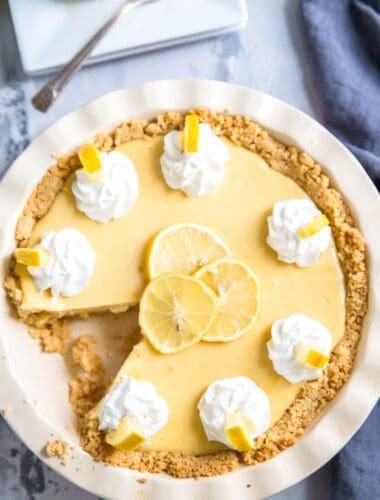 lemon pie in white pie plate