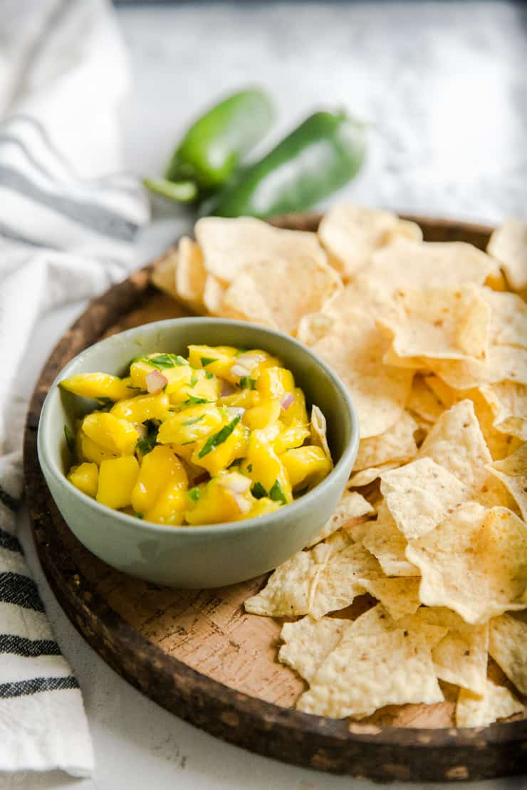 bowl of salsa with chips