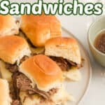 French dip sandwiches with shredded beef