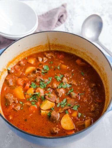 Lamb stew in a blue pot