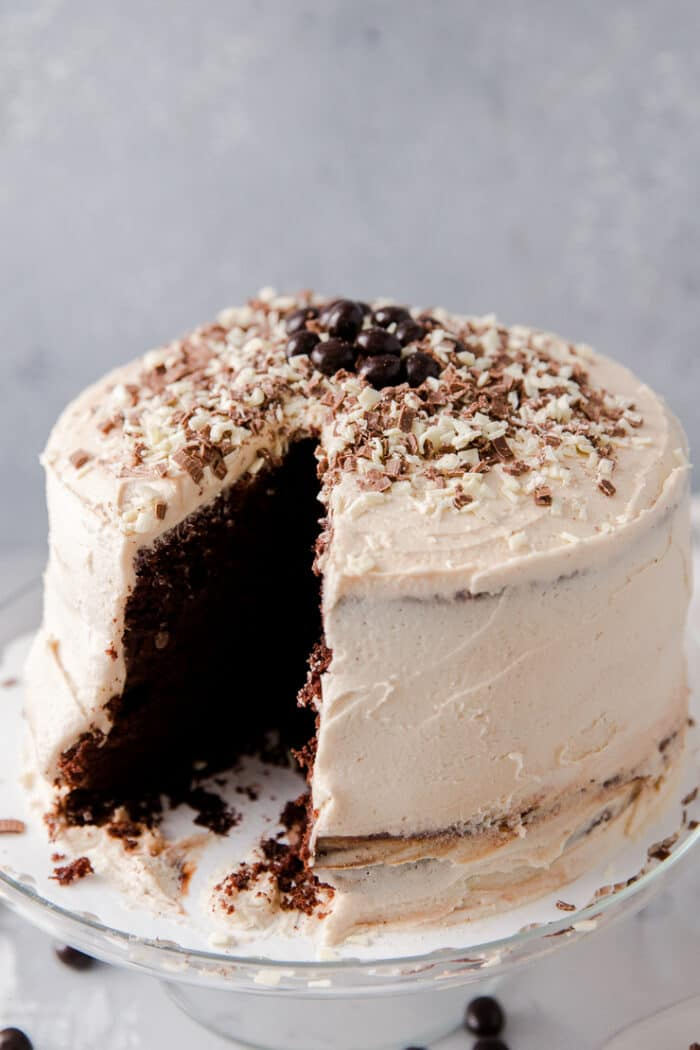 chocolate cake with a slice cut out