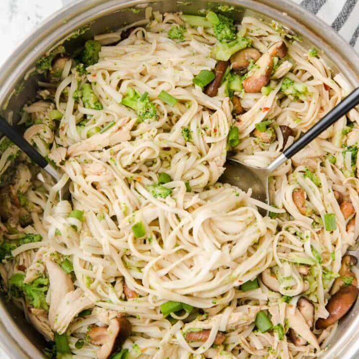chicken chow mein in a skillet
