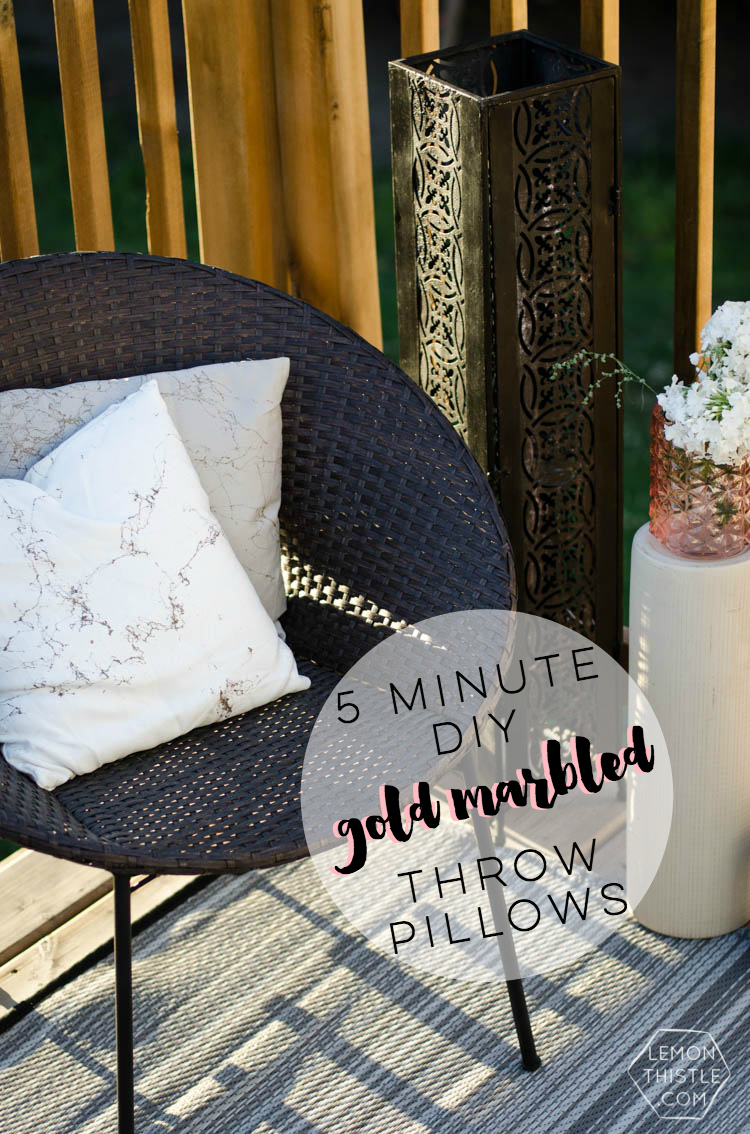 minute diy gold marbled throw pillows