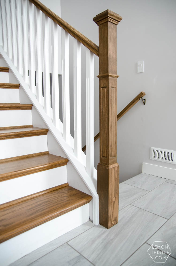 How To Install A Wooden Handrail On Split Level Stairs Lemon Thistle | Mid Century Stair Rail | Basement | Fixer Up | U Shape | Plywood | Hand