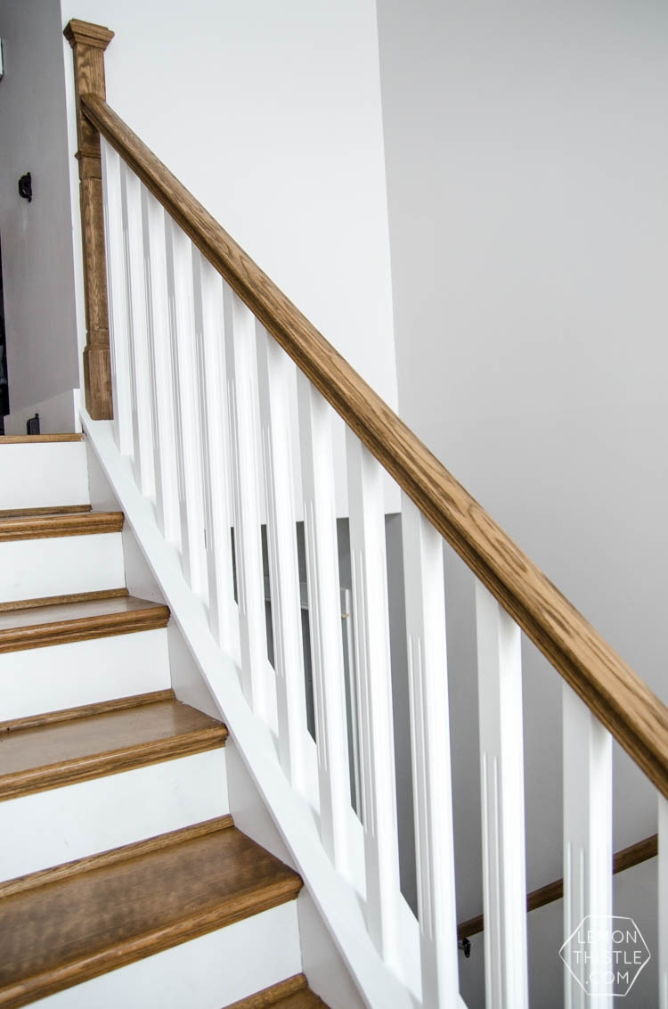 How To Install A Wooden Handrail On Split Level Stairs Lemon Thistle   Diy Handrails For Interior Stairs   Modern   Rounded   Led Str*P Light   Short   Look