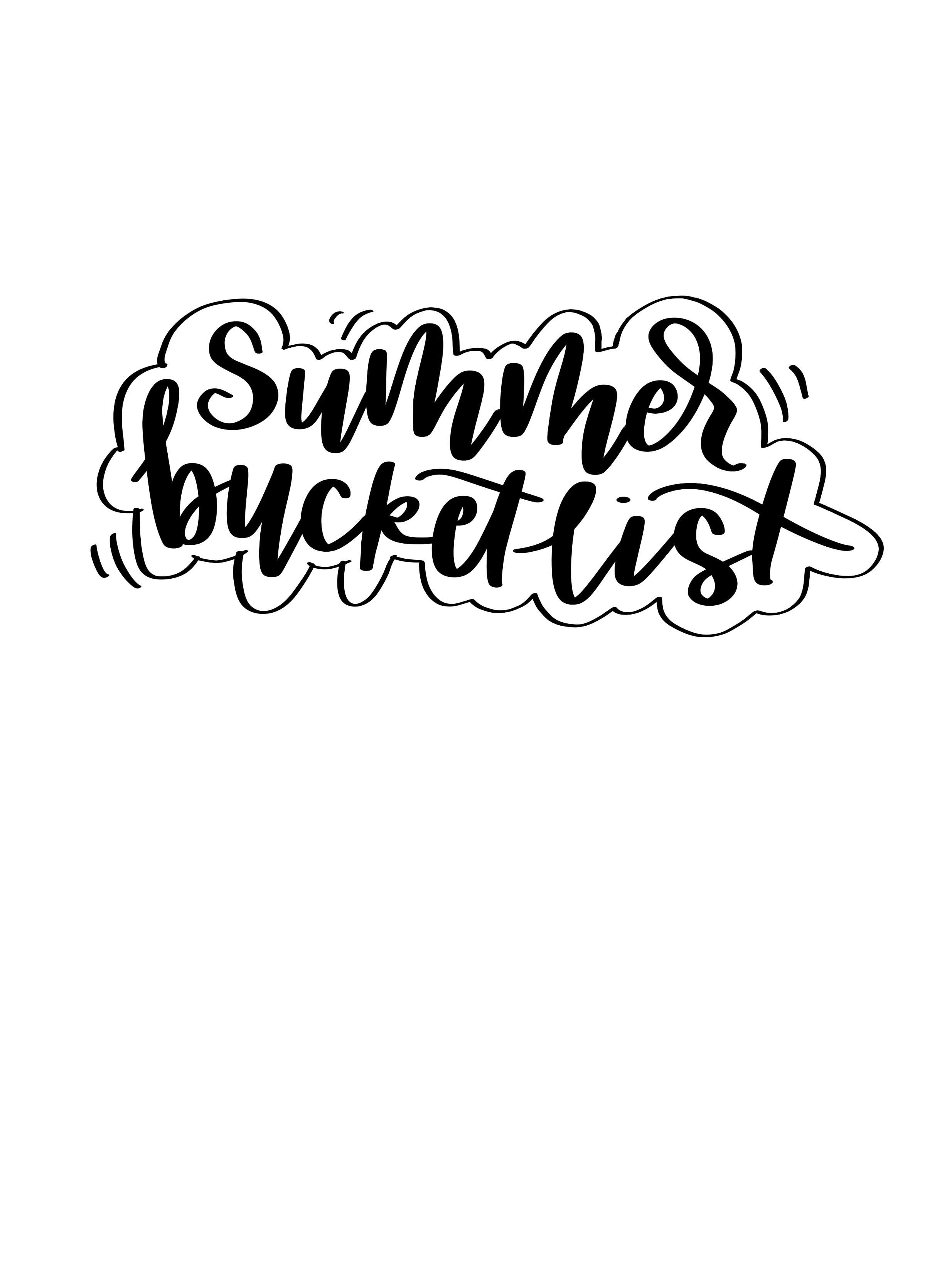 Hand Lettered Summer Bucket List Printable