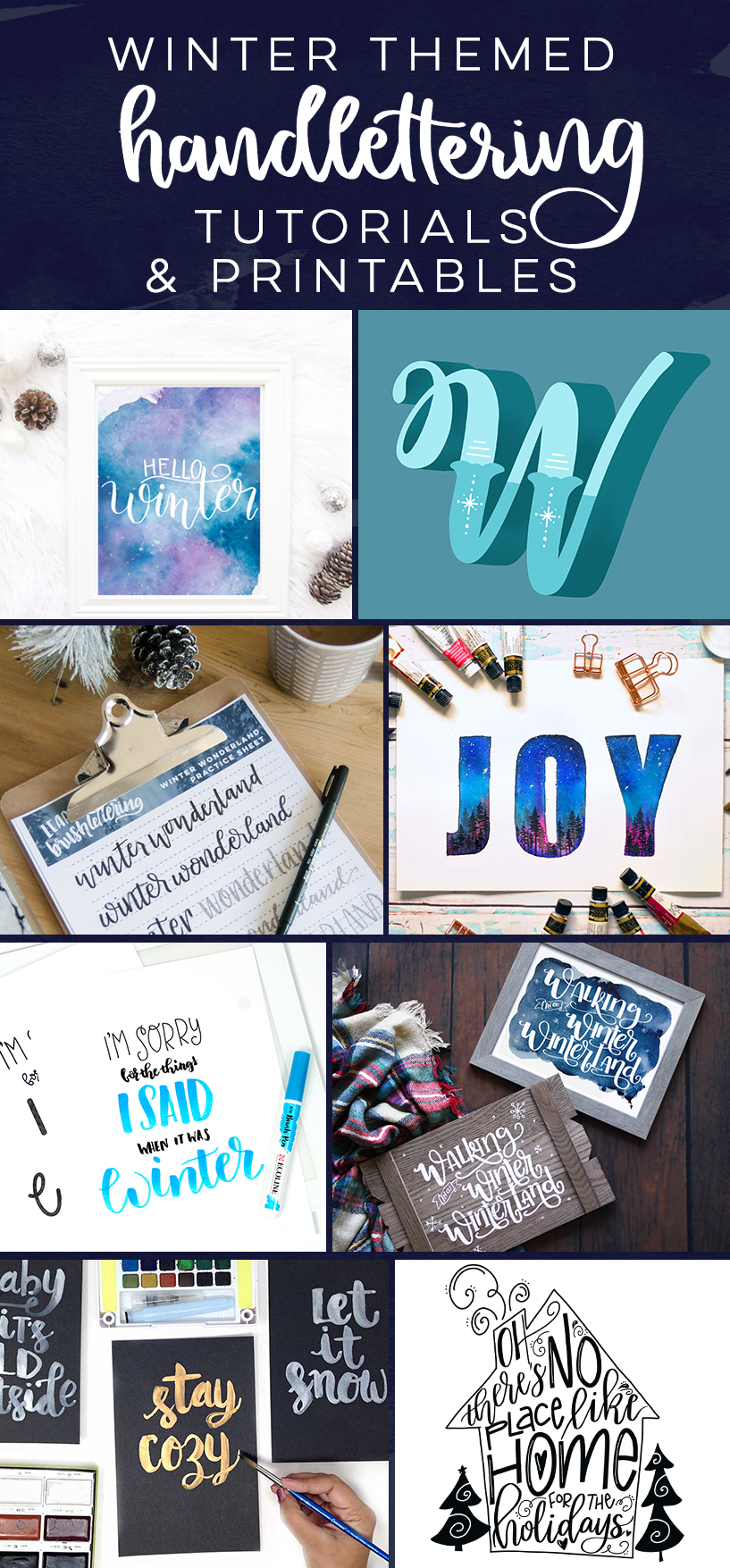 winter themed handlettering tutorials, practice sheets and printables... these are soo good!