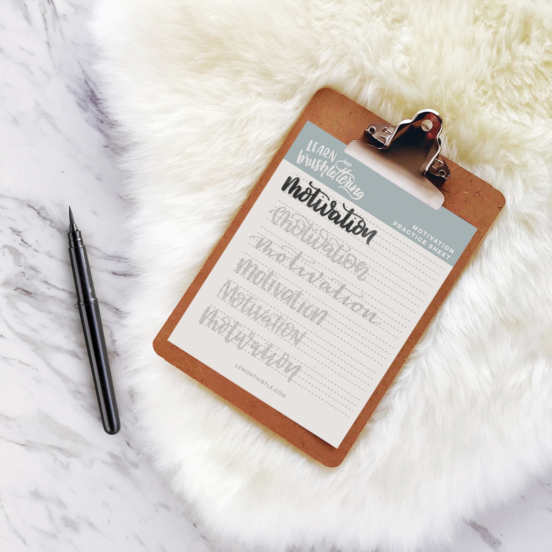 Motivation Hand Lettering Printable Practice Sheet