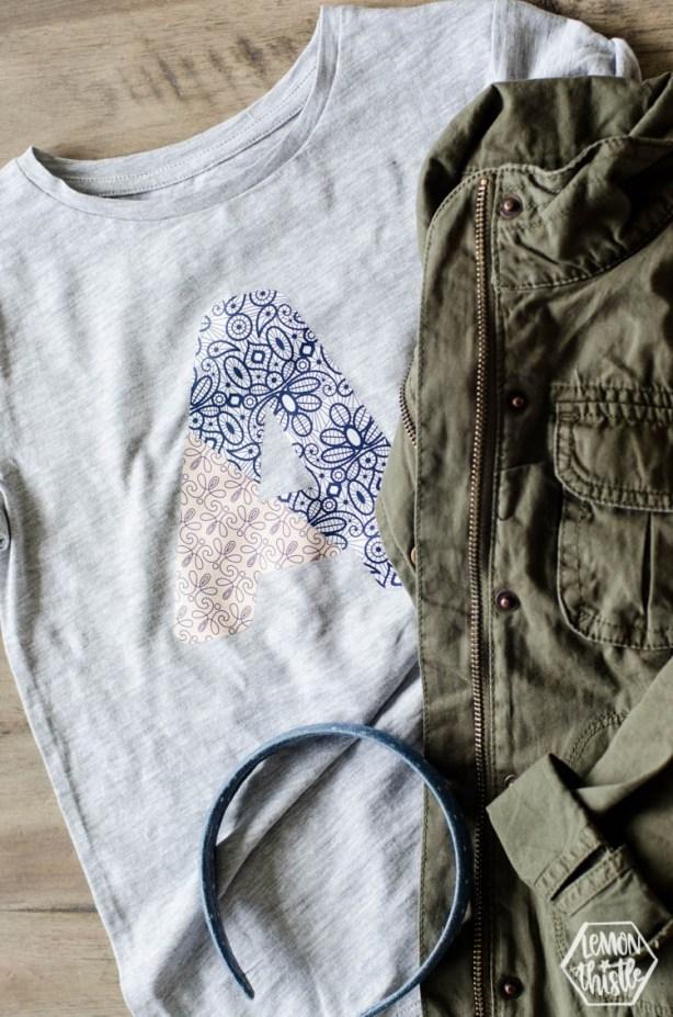 Cricut patterned HTV letter t-shirt