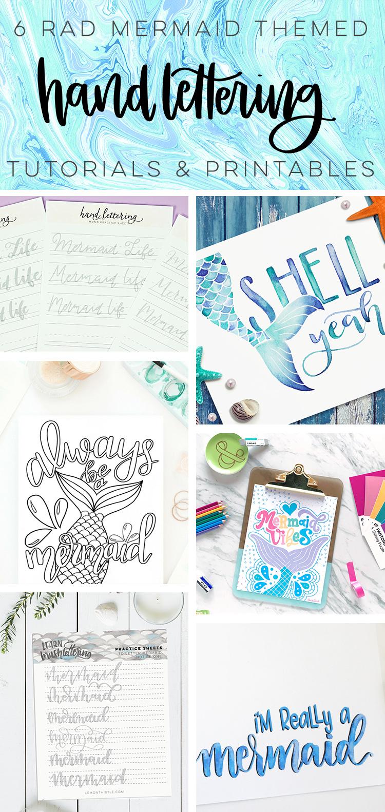 Free Printable Mermaid Hand Lettering Worksheets - Printable Crush