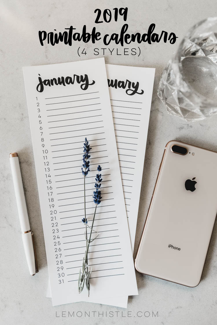 2019 Calendars - Free Printable list style calendars- 4 DIFFERENT STYLES