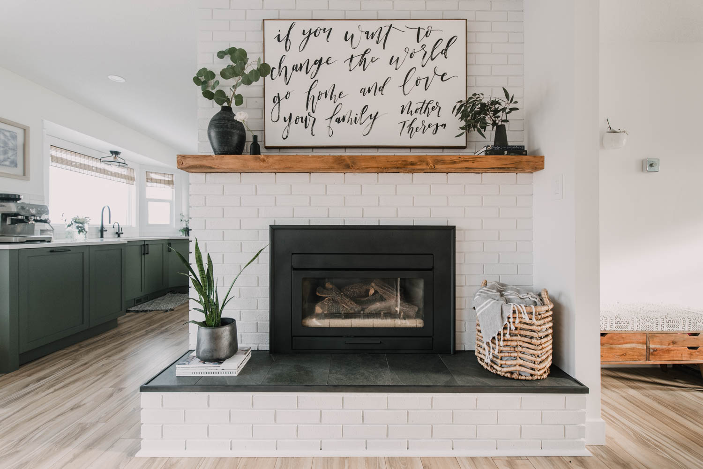 diy brick fireplace makeover lemon