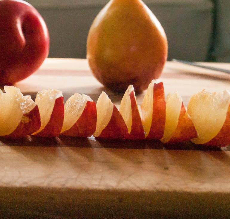 Sliced lemon plums