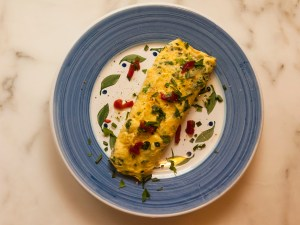 Fresh Herb Omelet with Goat Cheese and Roasted Red Pepper