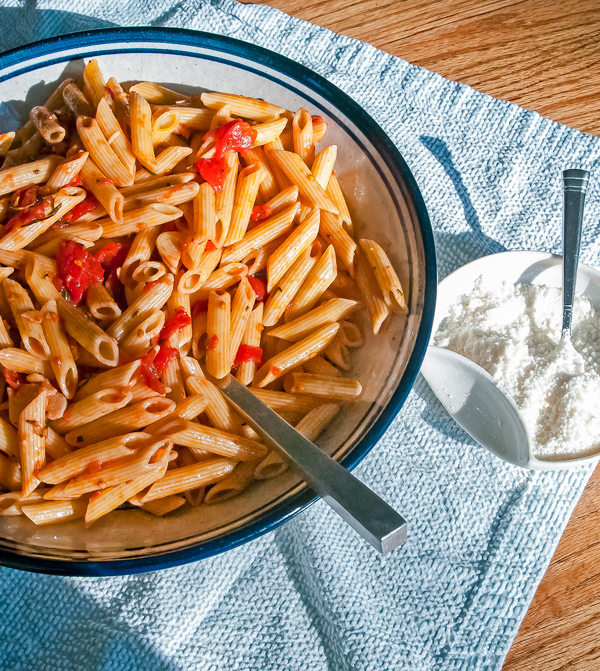 Penne with Tomato and Balsamic Vinegar Sauce á la Marcella Hazan