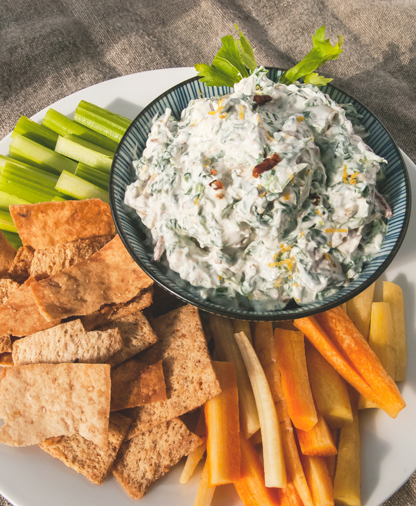 Spinach Artichoke Dip with Bacon and Crispy Pita Chips