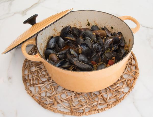 Spanish Inspired Mussels with Chorizo